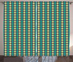 Vintage Argyle Pattern Curtain