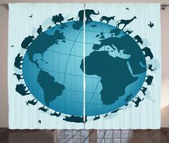 Animal Diversity World Curtain
