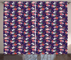 Flying Crane and Flowers Curtain