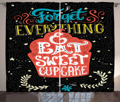 Eat Sweet Cupcake Dessert Curtain