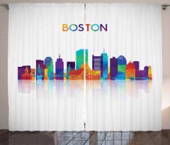 City Skyline Silhouette Curtain