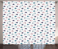 Doodle Fish and Waves Curtain