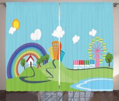 Cartoon Village Curtain