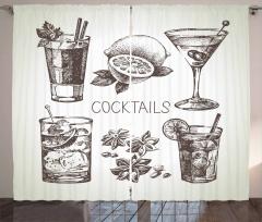 Vintage Sketch Beverage Curtain