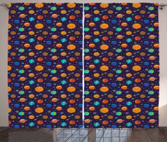 Cheerful Planets and Rockets Curtain