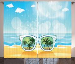 Sunglasses Reflection Tree Curtain