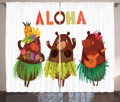 Funny Bears in Hawaii Curtain
