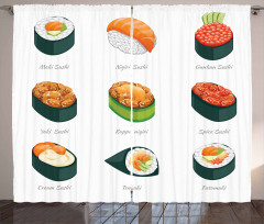 Exotic Japanese Cuisine Icons Curtain