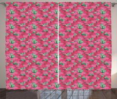 Flourishing Hibiscus Blooms Curtain