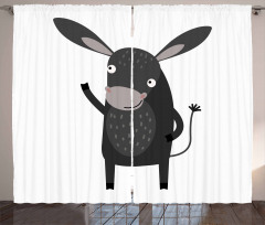 Happy Donkey with a Smile Curtain