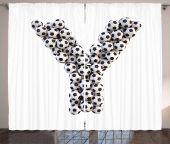 Monochrome Ball Motifs Curtain