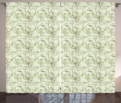 Herbal Elements Botany Motif Curtain