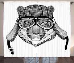 Hipster Wild Cat with Helmet Curtain