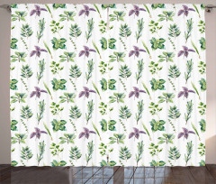 Watercolor Style Foliage Curtain