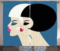 Bob Haircut Twin Ladies Curtain