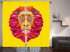 Geometric Lion Face Curtain