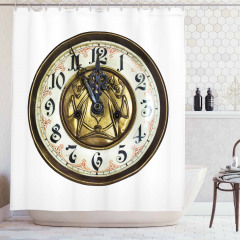 Antique Clock with Face Shower Curtain