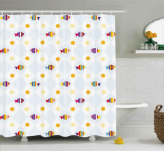 Fish Cartoon with Spots Shower Curtain