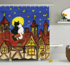 Two Lover Cats with Sky Shower Curtain