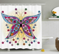 Spring Flowers Butterfly Shower Curtain