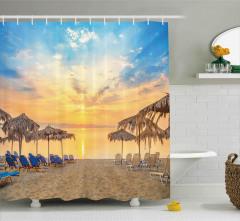 Sandy Beach with Sunrise Shower Curtain
