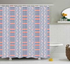 Marine Pattern Stripes Shower Curtain