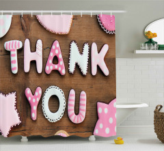 Rustic Cookie Letters Shower Curtain