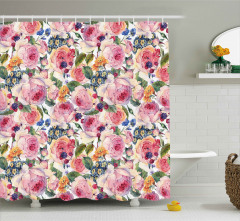 Shabby Chic Rose Floral Shower Curtain