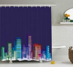 City at Night Cartoon Shower Curtain