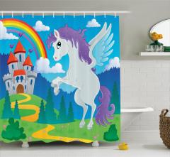 Unicorn with Rainbow Fairy Shower Curtain