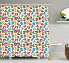Children Pattern Colored Shower Curtain