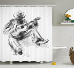 Cowboy and Guitar Eastern Shower Curtain