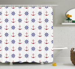 Anchors and Ship Wheels Shower Curtain