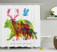 Alaska Animals Bear Wolf Shower Curtain