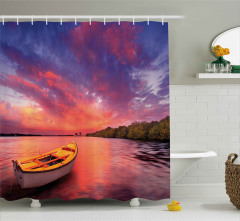 Sea Coast with a Rowboat Shower Curtain