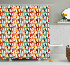 Hexagonal Shape Retro Shower Curtain