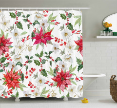 Christmas Flowers Buds Shower Curtain