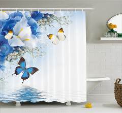 Exotic Flowers Pond Shower Curtain