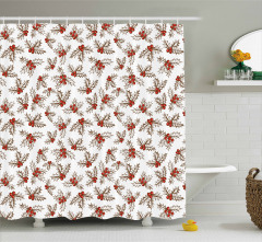 Holly Berries Leaves Shower Curtain
