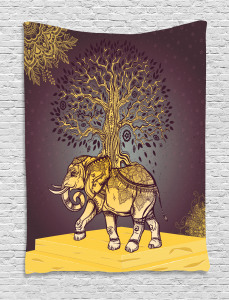 Asian Elephant in Nature Tapestry