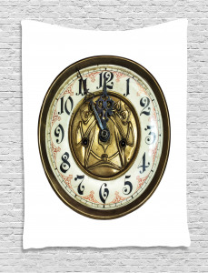 Antique Clock with Face Tapestry