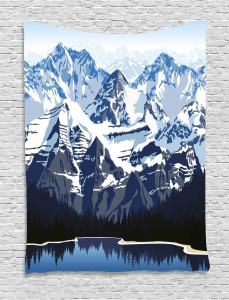 Mountain with Snow View Tapestry
