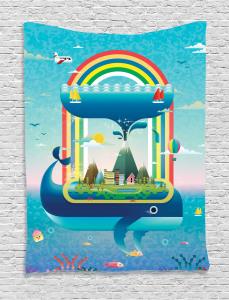 Whale Rainbow Ocean Art Tapestry
