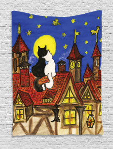 Two Lover Cats with Sky Tapestry