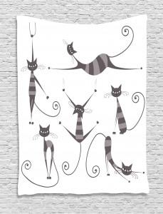 Funny Skinny Striped Cat Tapestry