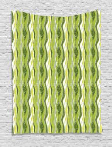 Digital Leaf Floral Lines Tapestry