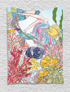 Sketchy Sea Coral Reefs Tapestry