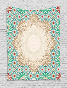 Antique Floral Mosaic Form Tapestry