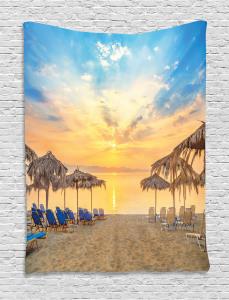 Sandy Beach with Sunrise Tapestry