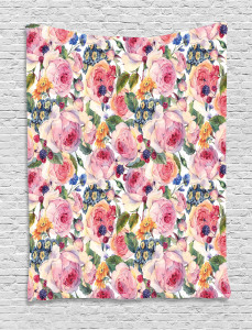 Shabby Chic Rose Floral Tapestry